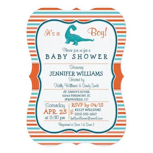 dinosaur teal u0026 orange stripes baby shower 5x7 paper invitation card