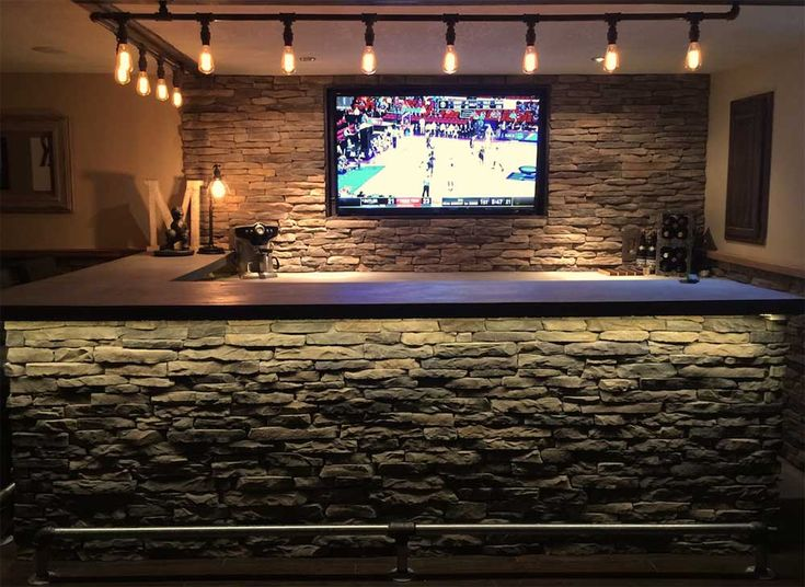 Under Bar Counter Led Strip Light Use On Front Stone Wall With Images Basement Bar Bar