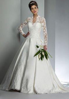 Special V Neck Ball Gown Satin Long Sleeve Chapel Train Bridal Dress - Lunadress.co.uk