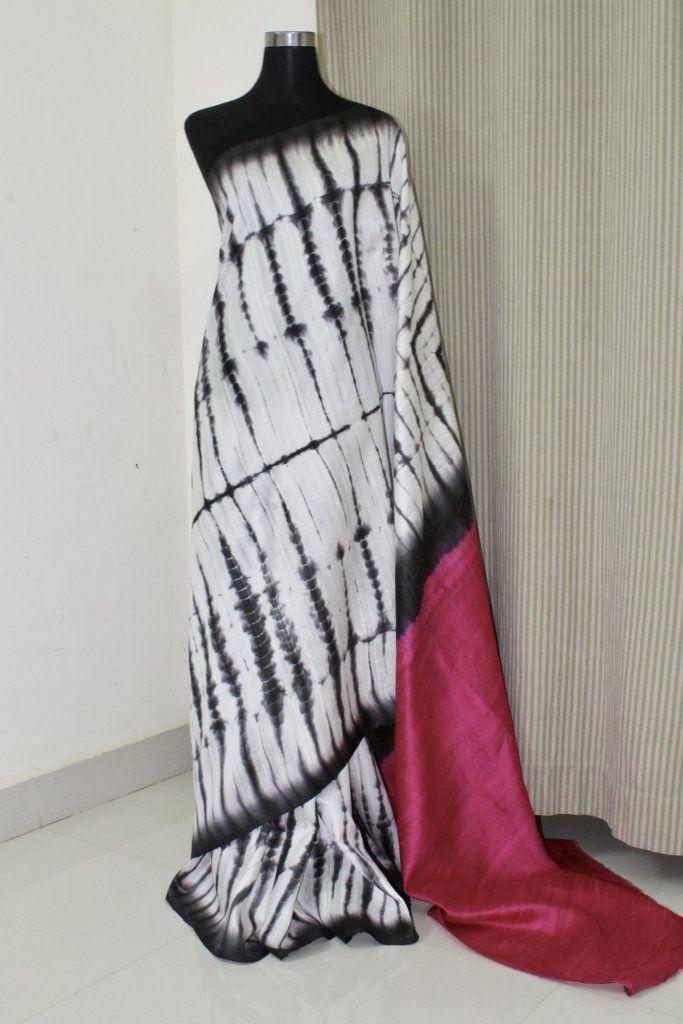 Pure dupion raw silk tie and dye saree