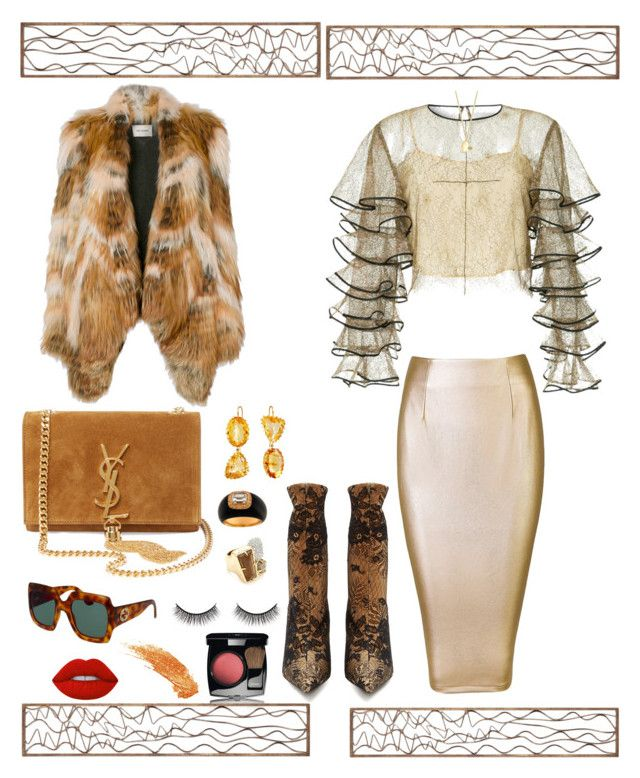 """""""Untitled #816"""" by lianatzelese on Polyvore featuring Alexis Bittar, Yves Salomon, Balenciaga, HUISHAN ZHANG, Renee Lewis, Gucci, Chanel, Anne Sisteron, Lime Crime and Battington"""