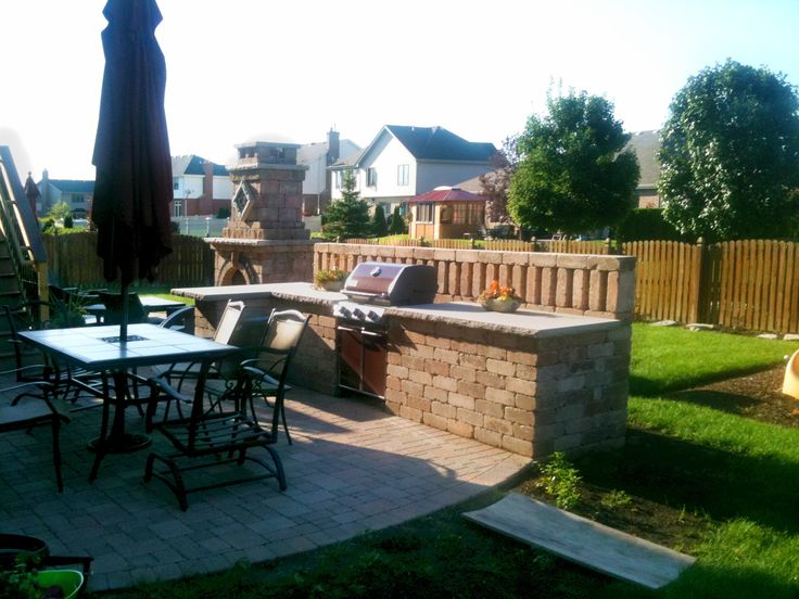 Outdoor Kitchen With Outdoor Fireplace By Chicagoland Patio Builder