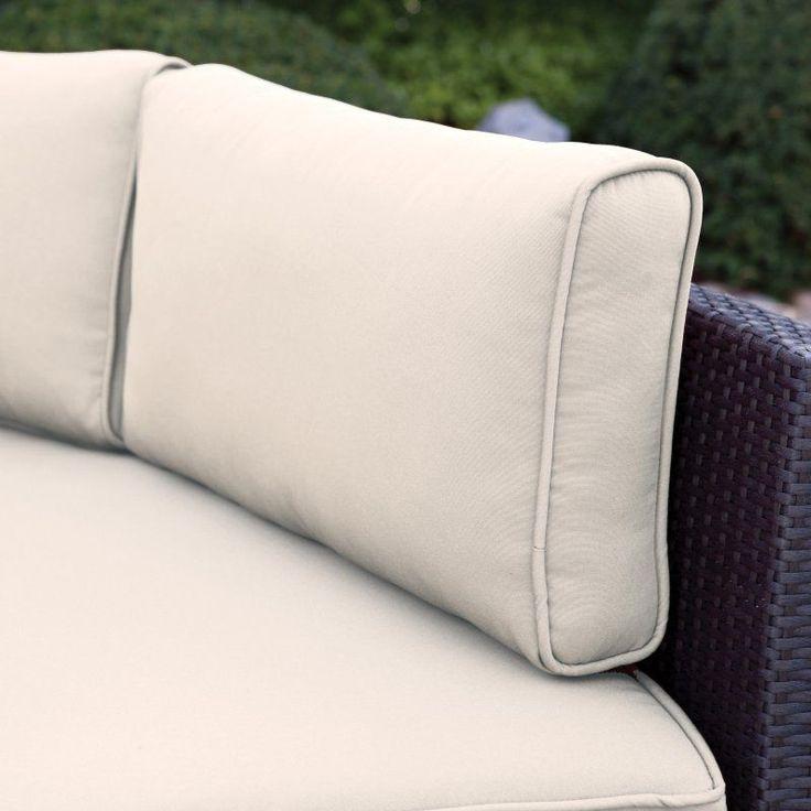 Belham Living Meridian Round Outdoor Wicker Patio Furniture Set with Sunbrella Cushions Sunbrella Antique Beige - TTLC315-1