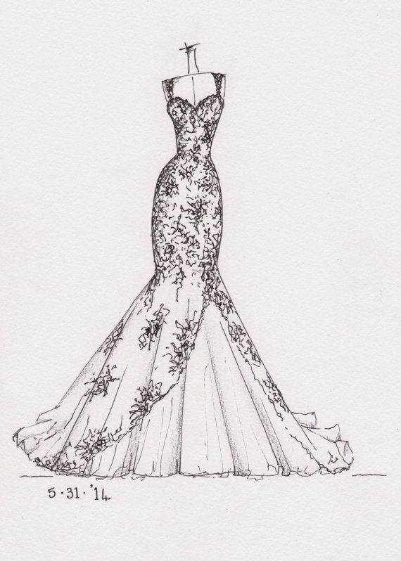 weddinng dress illustration great gift idea by dresssketch | Etsy