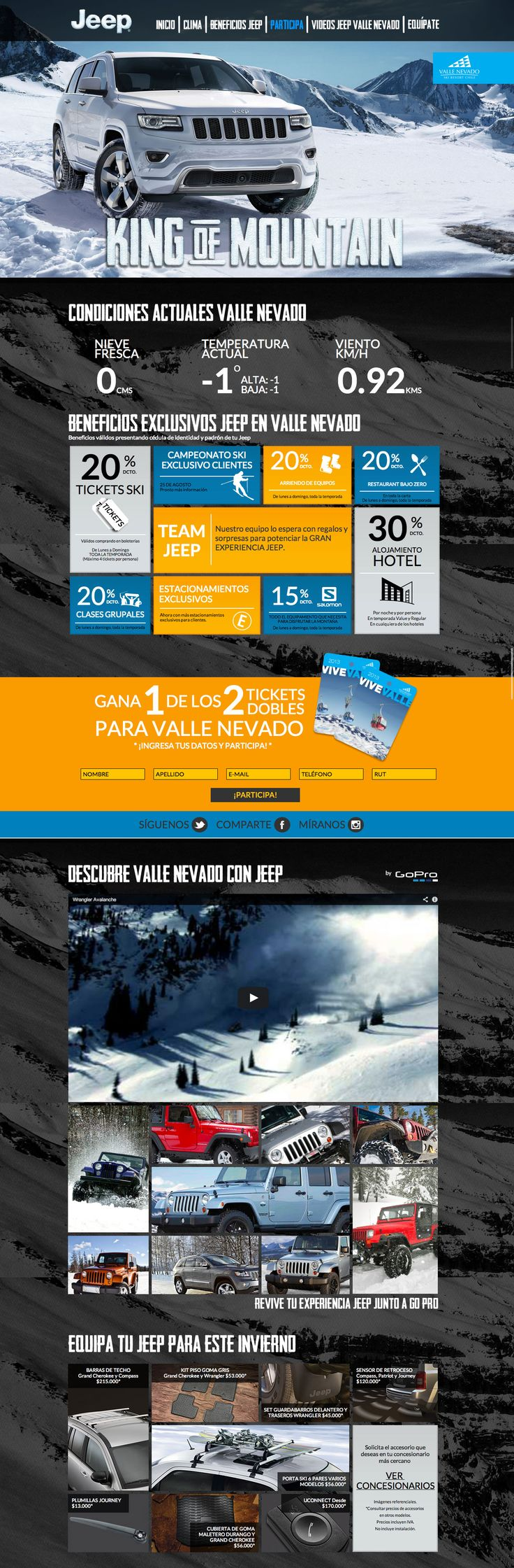 "Responsive one pager with the purpose of creating an environment for ""Invierno Jeep"" - what an an incredible into image, even on big screens."