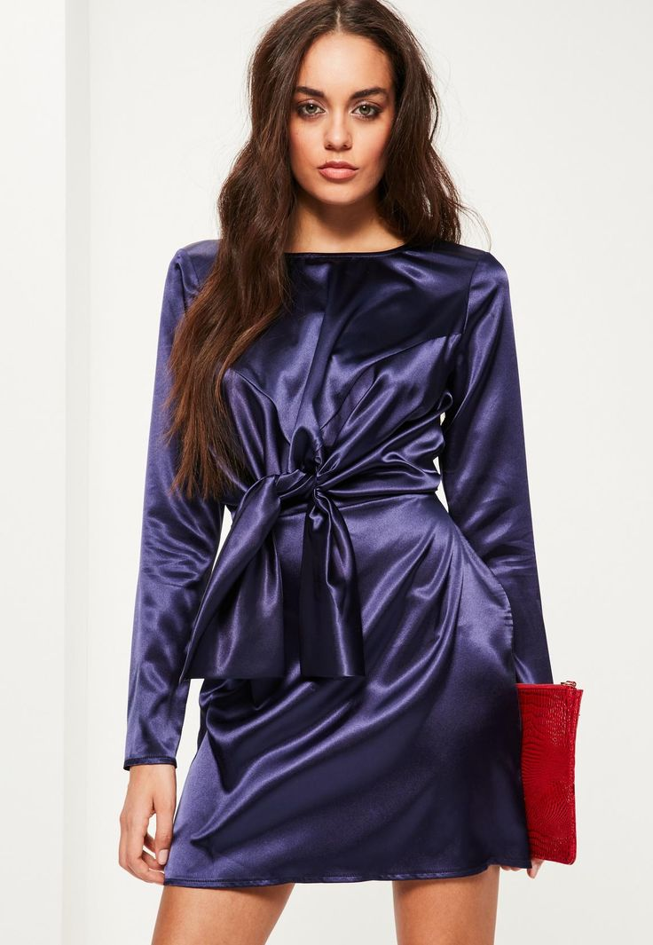 Purple Silky Tie Front Long Sleeve Shift Dress - Missguided
