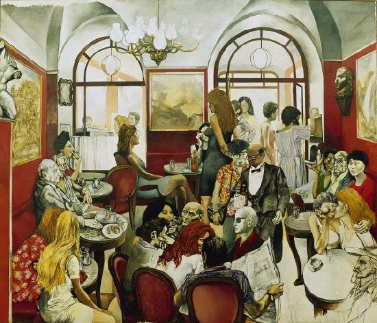 Café Greco, bellissimo quadro-murales di Renato Guttuso che è nella collezione madrilena del Thyssen-Bornemisza