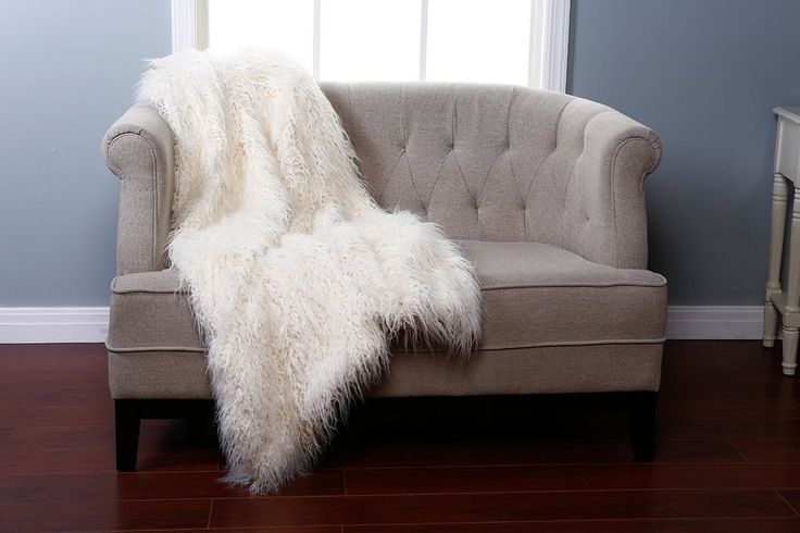 Mongolian Lamb 84-Inch x 60-Inch Faux Fur Throw Blanket in Ivory #VanityLiving #Contemporary