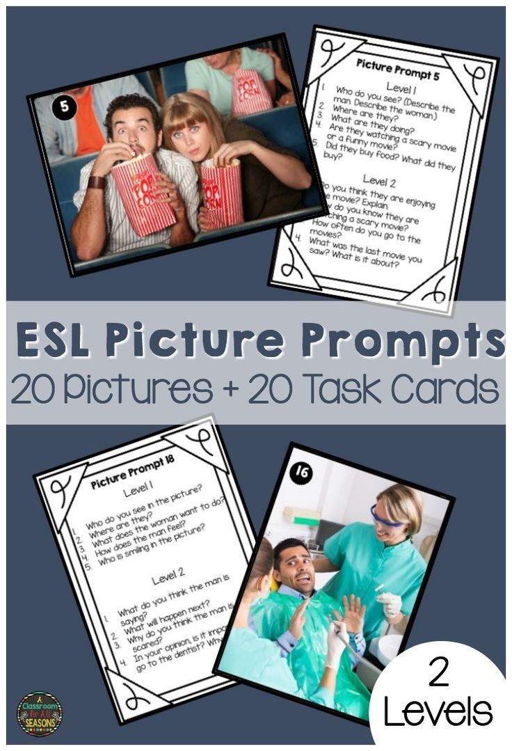 Looking for some fun ESL speaking activities? These picture prompts and task cards are great for kids, teens and adults. There are 2 levels of conversation questions for English Language Learners, so you can use them for teaching throughout the year!