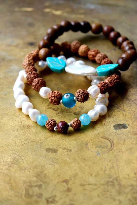 Yoga bracelet stack set of three Evil eye by ThePillowBook on Etsy