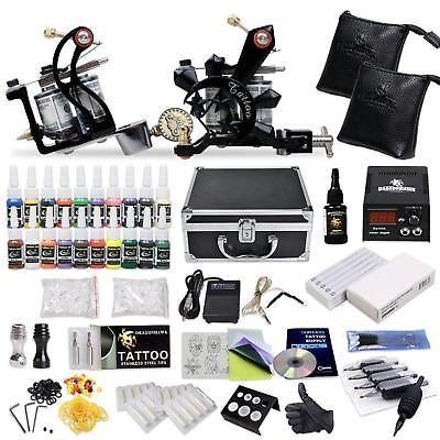 Tattoo Starter Kit 2 Guns Equipment Power Supply Box Black Case 50 Needle 40 Ink