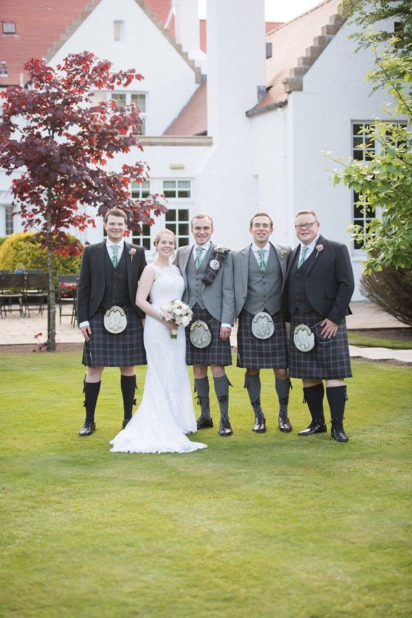 Mark and Laura were married in Lyle Kirk, Greenock in May. Mark and his Best Man wore our #exclusive Lomond Tweed jackets and waistcoats while the Ushers wore our exclusive Charcoal Glen Orchy Tweed jackets and waistcoats. They all wore our exclusive Lomond Mist #kilts and Mark also wore a matching #tartan plaid to ensure he stood out on his special day. #macgregorandmacduff #kingsofkilts #macgregorandmacduffweddings #scotland #highlandwear #menswear #mensstyle #scottishwedding
