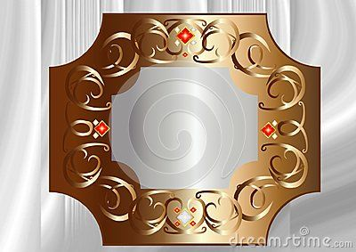 Vector illustration,Silver texture under Bronze frame with white and red crystals.