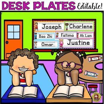Use these 44 editable desk plates featuring multicultural kids and cool background ice-cream colors all year around.  https://www.teacherspayteachers.com/Product/BACK-TO-SCHOOL-DESK-NAME-PLATES-KIDS-AND-ICE-CREAM-COLORS-1951389