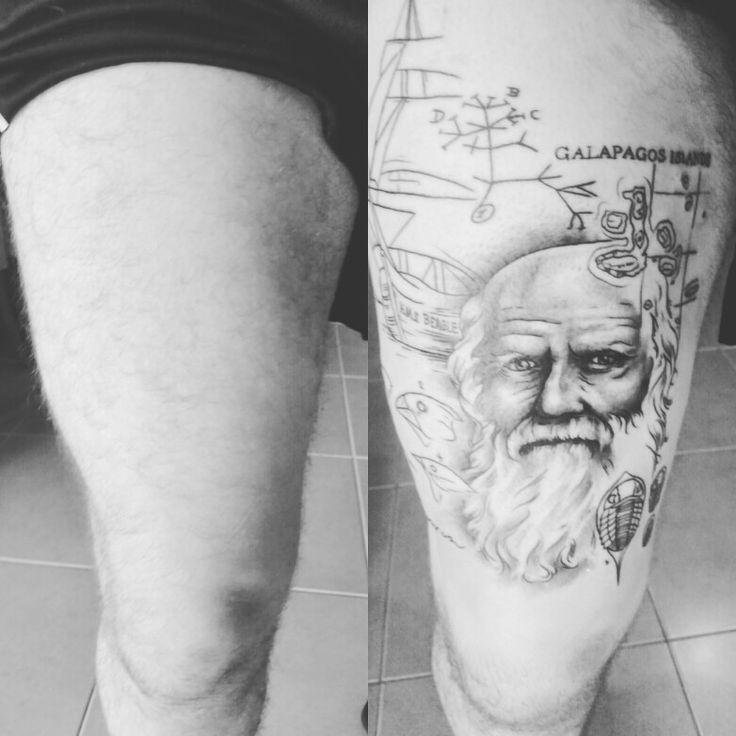 Charles Darwin Tattoo. Tattoo shading not finished yet. The Charles Darwin portrait looks great though. #tattoo #thightattoo #portraittattoo #charlesdarwin #darwin #evolution