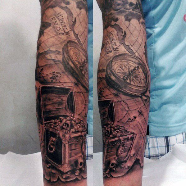 Nautical Map And Compass With Treasure Chest Guys Sleeve Tattoo