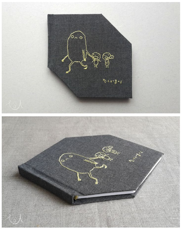 Soju Tanaka drawing as an embroidery on my handmade notebook