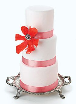 Wedding Cake with Large Pink Flower - Blend Asian accents with tropical touches - Wedding Cake