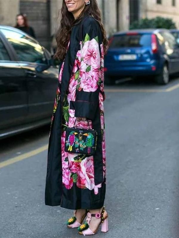 WOMAN PRINTED KIMONO COAT CONTRAST BELT PIPING Black LONG Jacket NEW S M L