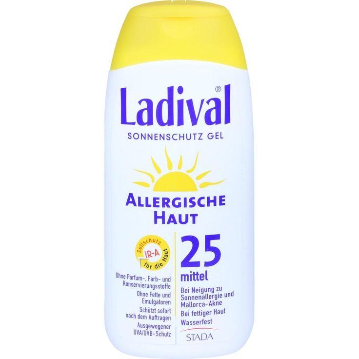 LADIVAL allergische Haut Gel LSF 25:   Packungsinhalt: 200 ml Gel PZN: 03373486 Hersteller: STADA GmbH Preis: 12,89 EUR inkl. 19 % MwSt.…
