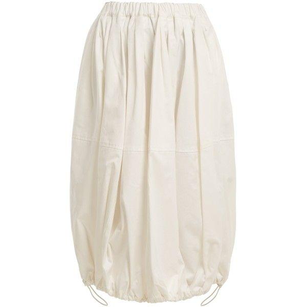 Junya Watanabe X Commes des Garçons cotton balloon skirt ($430) ❤ liked on Polyvore featuring skirts, high rise skirt, high-waisted skirt, elastic skirt, balloon skirts and gathered skirts