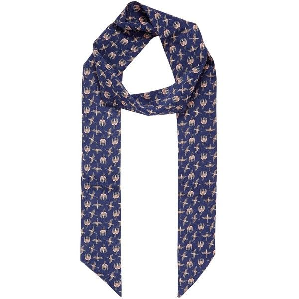 Brora Liberty Silk Skinny Scarf ($55) ❤ liked on Polyvore featuring accessories, scarves, silk wrap shawl, navy blue shawl, print scarves, navy scarves and patterned scarves