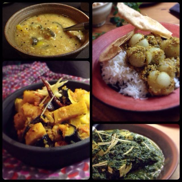 (印度風格菜)  右上から時計回りに…  小玉葱のマサラ詰め(マバニマサコさんのレシピ)  ほうれん草と豆腐のカレー(インドのチーズ パニールの代わりに豆腐を入れたもの) Palak Tofu  ジャガイモと茄子のカレー Aloo Baingan  サンバル(南インド風の豆スープ) Sambar  小玉葱は細かく砕いたカシューナッツ、胡麻、スパイスを詰めて蒸し煮した感じです。こうやって食べると甘さが引き立って美味しい〜! - 190件のもぐもぐ - 最近作ったインド料理 by まちまちこ