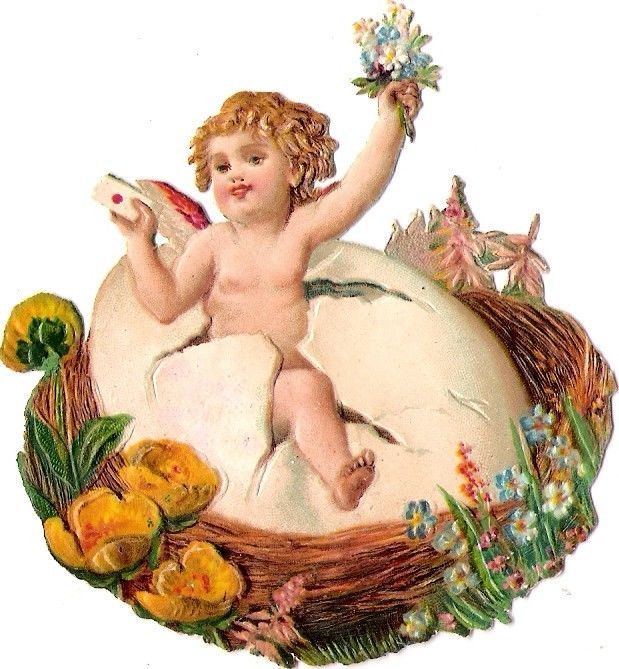 Oblaten Glanzbild scrap die cut  Ostern easter Ei egg Kind child Baby Nest
