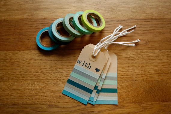 masking tape tags set of 10 striped washi tape by mireillebeneker, €3.50