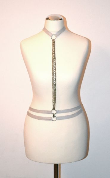 Silver leather harness with silver rings, double belt and silver chains https://kivaleatheraccessories.wordpress.com/2015/01/19/glamorous-harnesses/