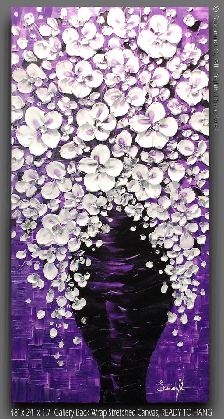 ORIGINAL Huge Purple Painting White Flowers by ModernHouseArt