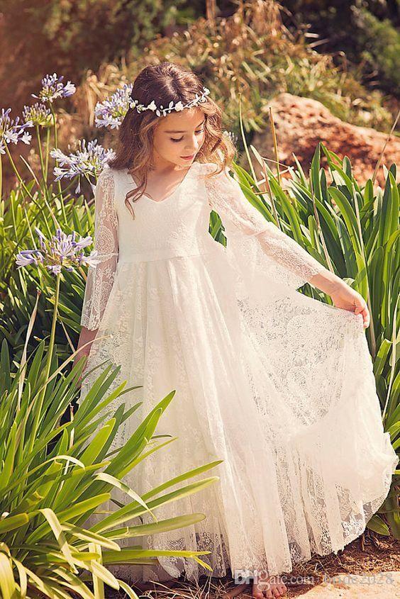 Stunning Lace Flower Girls Dresses Long Kids Formal Wear Photo Prop 3/4 Sleeves…