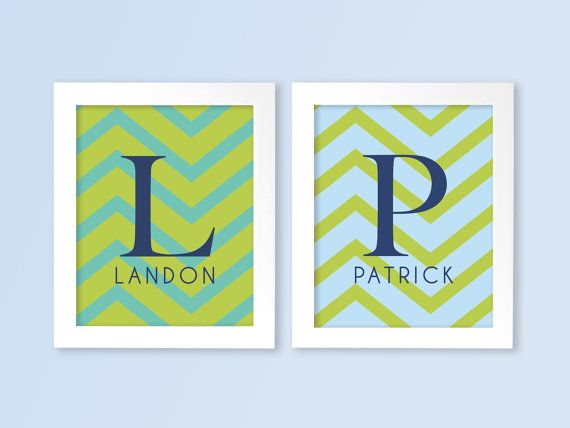 TWINS Baby Boy Monograms Nursery Wall Art Prints in Chevron 8x10 Nursery or Kids Room Modern Wall Art - Shown in Blue & Green