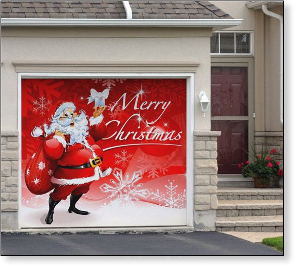 Garage door decor santas merry christmas 1car for Christmas garage door mural