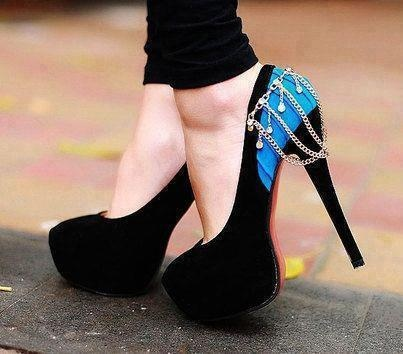 Attractive back chain style high heel shoes for ladies