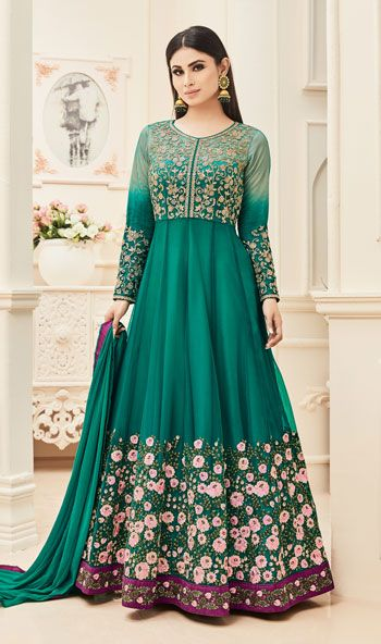 Mouni Roy Green Color Resham Work Designer Floor Length Anarkali Suit