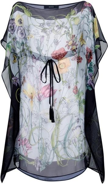 gucci Chiffon Floral Blouse - Lyst