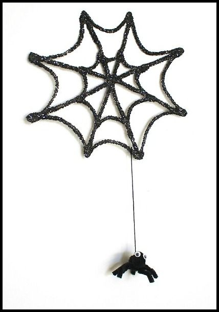 halloween crafts for kids glitter spider web and spider - How To Draw Halloween Decorations