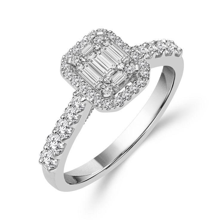 14k White Gold 3/4ct TDW Emerald-shape Baguette Diamond Ring (H-I, I1-I2) (Size 5), Women's