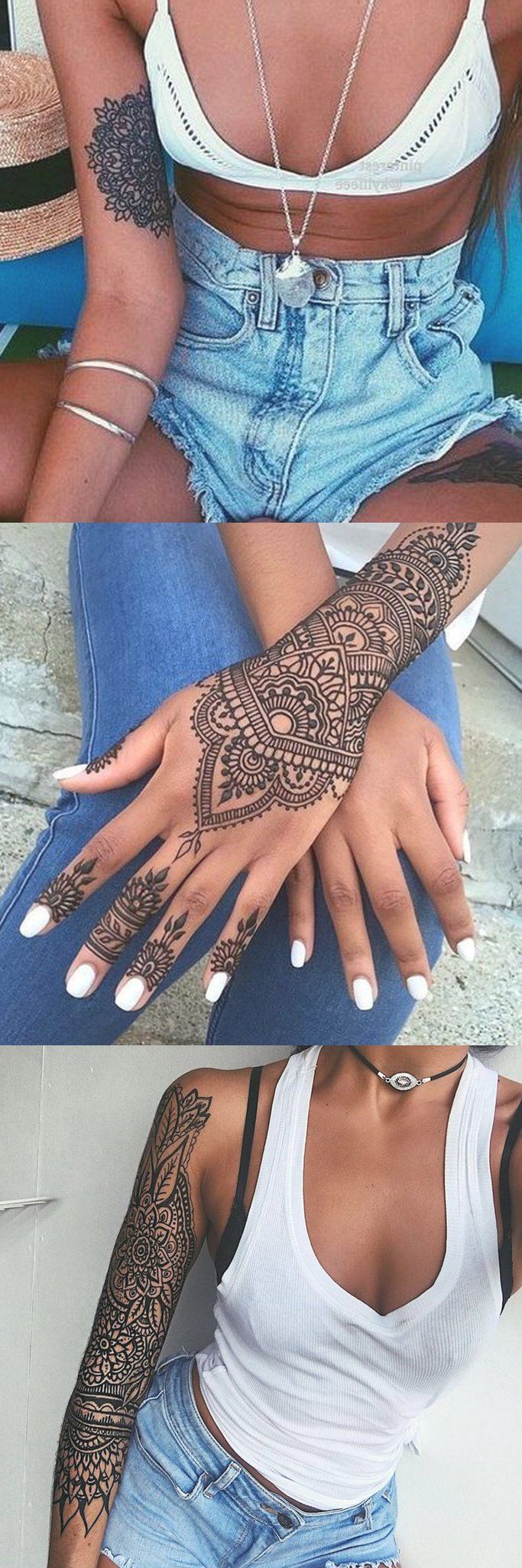 Beautiful Mandala Placement Tattoo Ideas - Black Henna Hand Lotus Tatt - Inner Arm Sleeve Bicep Tat - Full Geometric Womens Tatouage - MyBodiArt.com Denim