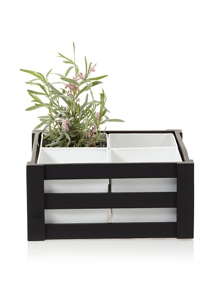 Wald Imports Wooden Crate with 4 Square Metal Inserts, Black/White at MYHABIT