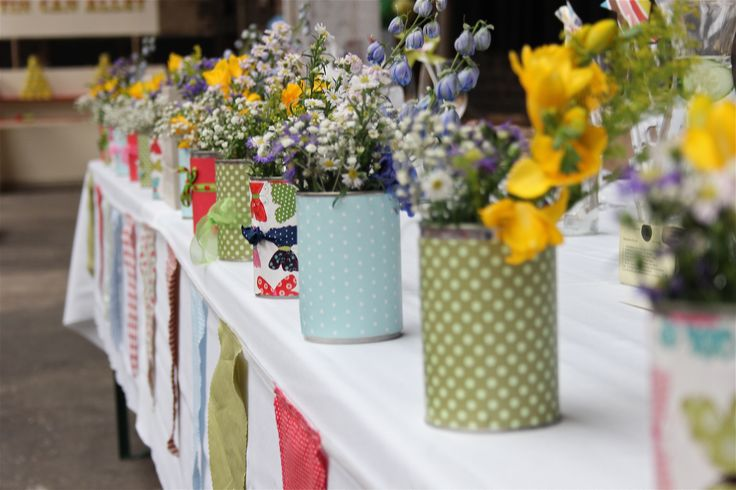 Flowers in village fete themed wedding by Craft Creative Events at Camp & Furnace
