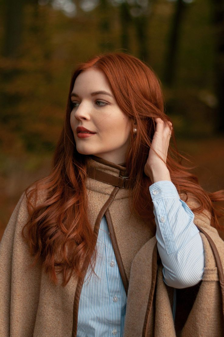 Camel Cape by Ralph Lauren and copper hair #beautifulredhair