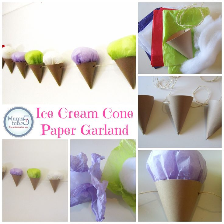 Ice Cream Cone Paper Garland