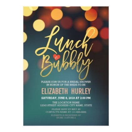 #glitter - #Teal Gold Bokeh Lights Lunch Bubbly Bridal Shower Card