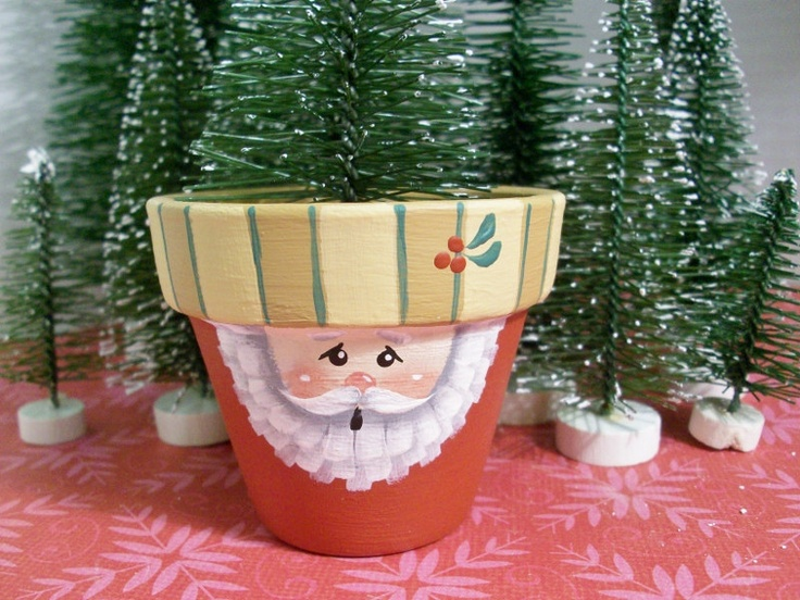 Small Hand Painted Clay Pot Santa Christmas by ToletallyPainted