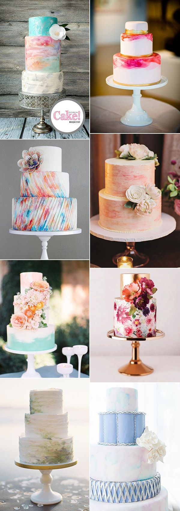 glamorous watercolor wedding cakes for romantic wedding ideas