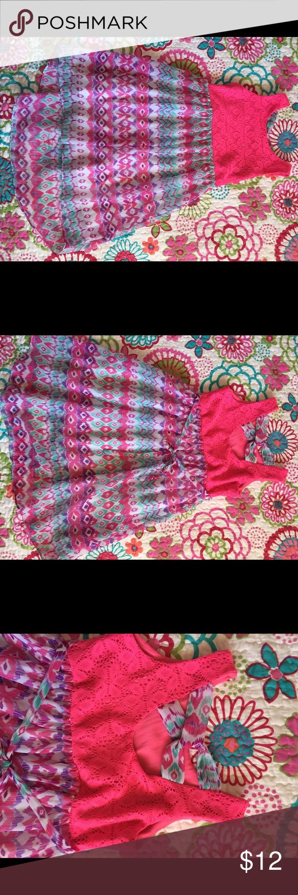 Young Land Dress Cute dress with hot pink crocheted top and purple, pink and green patterned skirt. Small snag in Skirt hardly noticeable. Youngland Dresses Casual