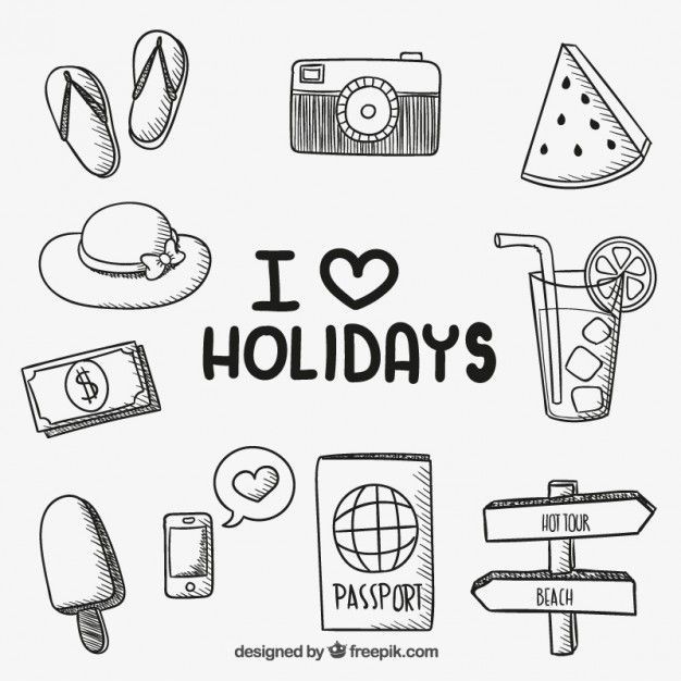 Iconos de vacaciones dibujados a mano Vector Gratis