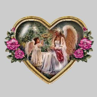Photo of Mother And Child Heart,Animated for fans of Angels. a beautiful heart with mother and child angels animated